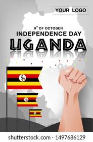 Uganda Independence day background vector