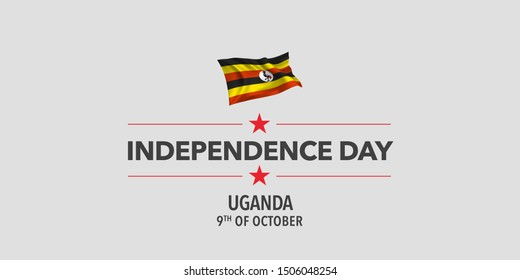 Uganda independence day greeting card, banner, vector illustration. Ugandan holiday 9th of October design element with waving flag as a symbol of independence
