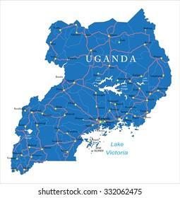 Uganda Map Images, Stock Photos & Vectors   Shutterstock
