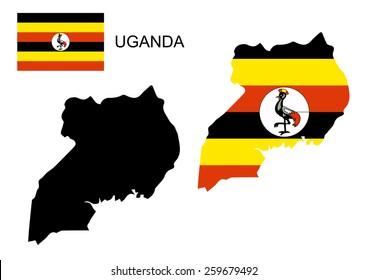 Uganda map and flag vector, Uganda map, Uganda flag