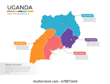 Uganda map infographics vector template with regions and pointer marks