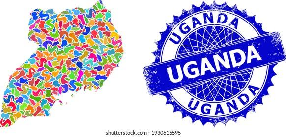 Uganda map vector image. Blot mosaic and distress seal for Uganda map. Sharp rosette blue mark with text for Uganda map. Mosaic vector Uganda map formed of random bright spots.