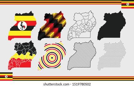 Uganda Map Vector Set Country