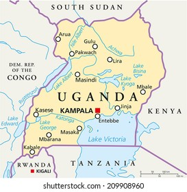 Uganda Political Map with capital Kampala, with national borders, most important cities, rivers and lakes. Illustration with English labeling and scaling.