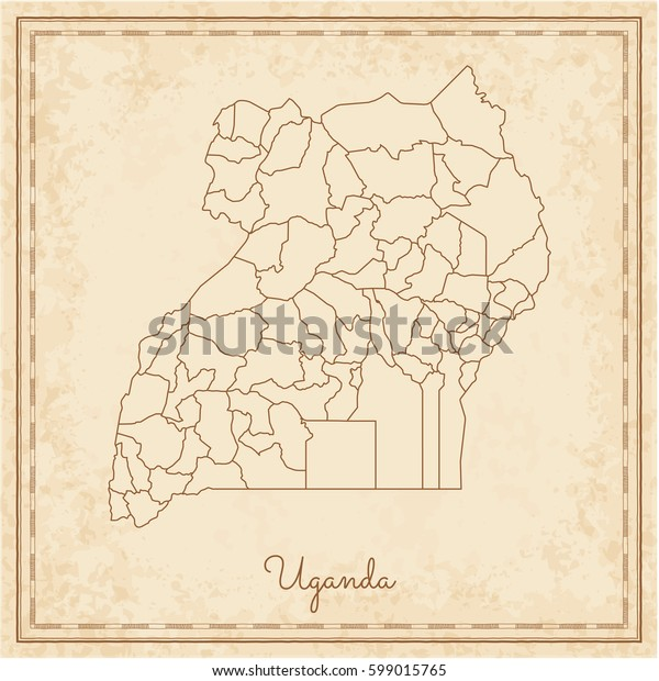 Uganda region map: stilyzed old pirate parchment imitation. Detailed map of Uganda regions. Vector illustration.