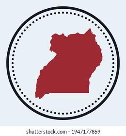 Uganda round stamp. Round logo with country map and title. Stylish minimal Uganda badge with map. Vector illustration.
