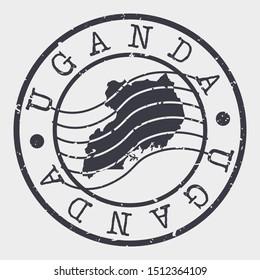 Uganda Stamp Postal. Map Silhouette Seal. Passport Round Design. Vector Icon. Design Retro Travel.