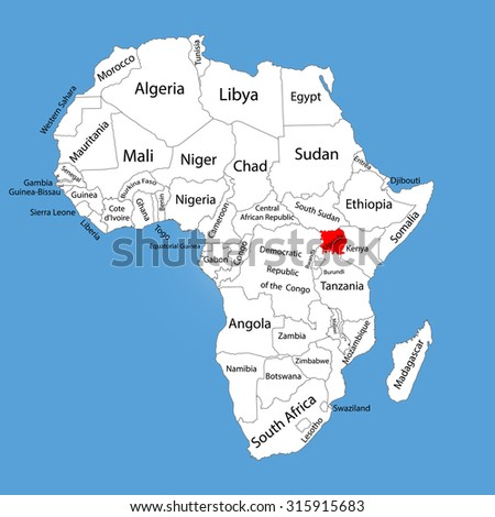 Uganda Vector Map Silhouette Isolated On Stock Vector Royalty Free