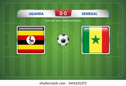 Uganda vs Senegal scoreboard broadcast template for sport soccer africa tournament 2019 round of 16 teams and football championship in egypt vector illustration