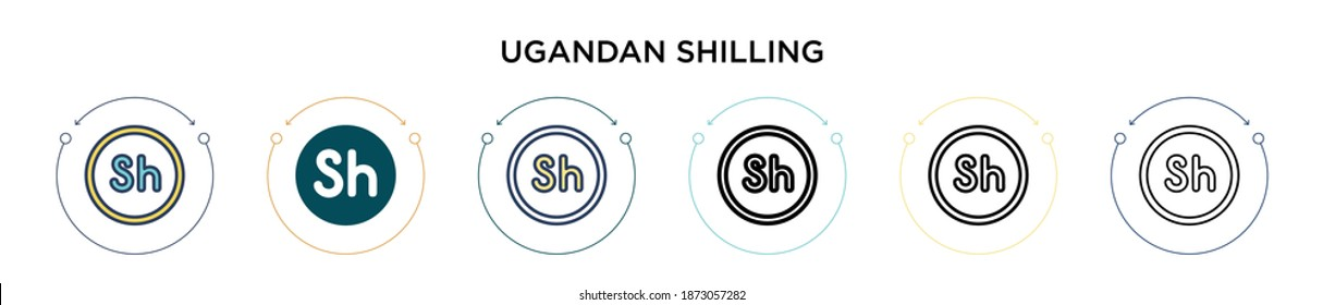 Ugandan shilling icon in filled, thin line, outline and stroke style. Vector illustration of two colored and black ugandan shilling vector icons designs can be used for mobile, ui, web