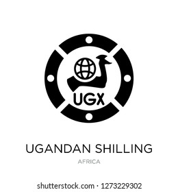 ugandan shilling icon vector on white background, ugandan shilling trendy filled icons from Africa collection, ugandan shilling simple element illustration