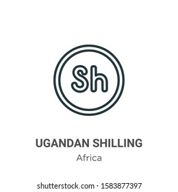 Ugandan shilling outline vector icon. Thin line black ugandan shilling icon, flat vector simple element illustration from editable africa concept isolated on white background