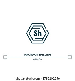 ugandan shilling vector line icon. Simple element illustration. ugandan shilling outline icon from africa concept. Can be used for web and mobile