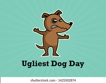 Ugliest Dog Day vector. Dog vector illustration. Rabid dog icon. Brown Dog cartoon character. Competition of ugly dogs