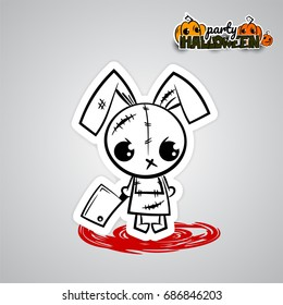 Ugly angry Halloween horror thread needle sewing voodoo doll Halloween evil bunny rabbit knife, blade cartoon funny monster Pop art wow comic book text poster party. Vector illustration sticker paper.