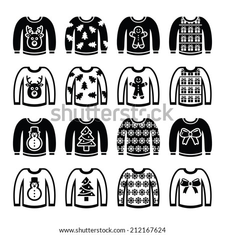 Ugly Christmas Sweater On Jumper Icons Image Vectorielle De Stock