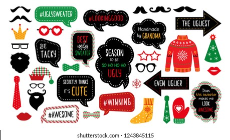 Ugly Christmas sweater party photo booth props. Merry Christmas and Happy New Year photobooth. Vector set for masquerade - ugly ullover, jumper, funny quotes. Tacky sweater party print design.
