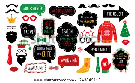 Ugly Christmas sweater party photo booth props. Merry Christmas and Happy  New Year photobooth. Vector set for masquerade - ugly ullover eaa3e69a0c47