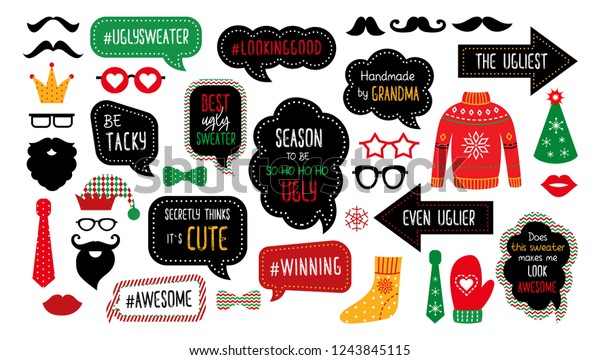 Ugly Christmas Sweater Party Photo Booth Stock Vector ...
