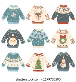 Ugly christmas sweaters. Cartoon cute wool jumper. Knitted tacky winter holidays sweater pullover with funny snowman, Santa and Xmas tree, deer and snowflake december clothes vector isolated icon set