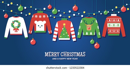 Ugly Christmas sweaters with hanging ornaments and string lights vector illustration/ greeting card
