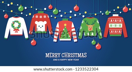 9457f5441a9 Ugly Christmas sweaters with hanging ornaments and string lights vector  illustration  greeting card