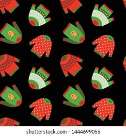 Ugly Christmas sweaters seamless pattern. Vector Illustration