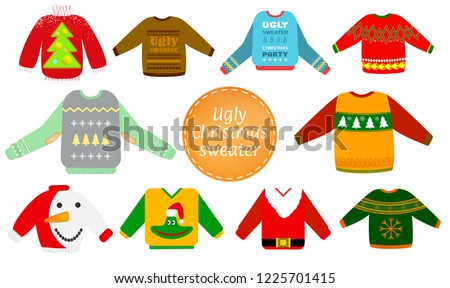 afe08c96609 Ugly Christmas Sweaters Vector Set Red Stock Vector (Royalty Free ...