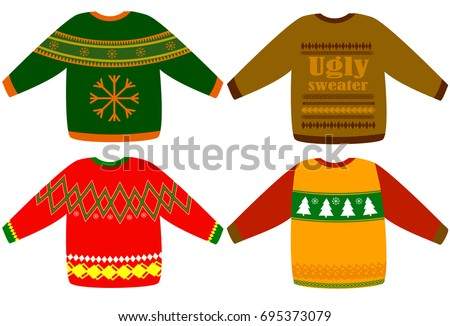 f2bc47de5a Ugly Christmas Sweaters Vector Set Collection Stock Vector (Royalty ...