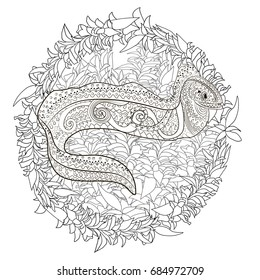 Ugly And Creepy Fish With High Details For Anti Stress Coloring Page Illustration Of A