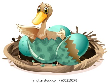 Ugly duckling hatching egg in nest illustration