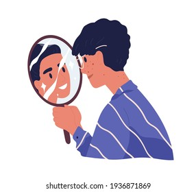 Ugly man with acne looking at mirror reflection and dreaming to be beautiful confident guy. Concept of high self-esteem and inadequate perception. Flat vector illustration isolated on white background