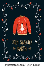 Ugly Sweater Christmas Party Invitation Card Template.