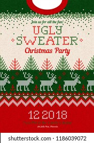 Ugly sweater Christmas party invite. Vector illustration Handmade knitted background pattern with deers, christmas tree and snowflakes, scandinavian ornaments. White, red, green colors. Flat style