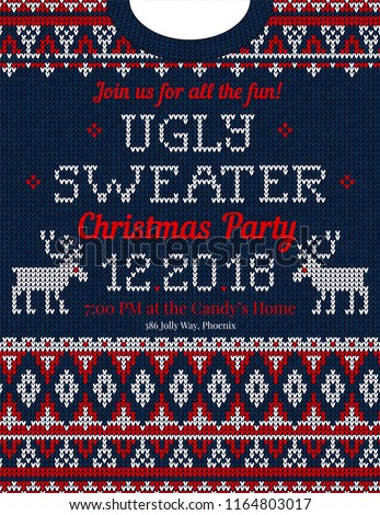 Ugly Sweater Christmas Party Invite Vector Stock Vector Royalty