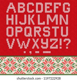 Ugly sweater Christmas Season Winter Sale Poster. Vector illustration knitted background pattern with deers snowflakes, scandinavian ornaments for advertising flyers, banners. White, green, red colors