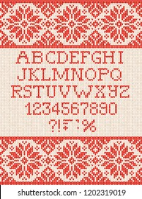 Ugly sweater Christmas Season Winter Sale Poster. Vector illustration knitted background pattern with deers snowflakes, scandinavian ornaments for advertising flyers, banners. White, red, colors