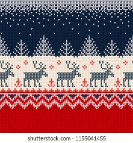 Ugly sweater Merry Christmas and Happy New Year greeting card frame border seamless pattern. Vector illustration knitted background pattern deers scandinavian ornaments. White, red, blue colors.