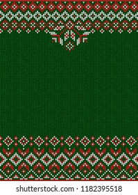 Ugly sweater Merry Christmas Happy New Year greeting card frame border knitted pattern. Vector illustration knitted background pattern with folk style scandinavian ornaments. White, red, green colors.