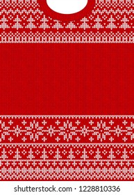 Ugly sweater Merry Christmas and Happy New Year greeting card frame border . Vector illustration knitted background seamless pattern with folk style scandinavian ornaments. White, red colors.