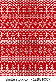 Ugly sweater Merry Christmas Happy New Year Vector illustration knitted background seamless pattern folk style scandinavian ornaments. Wallpaper wrapping paper textile print. White, red colors.