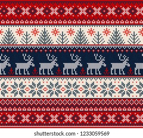 Ugly sweater Merry Christmas Happy New Year Vector illustration knitted background seamless pattern folk style scandinavian ornaments. Wallpaper wrapping paper textile print. White, red, blue colors.