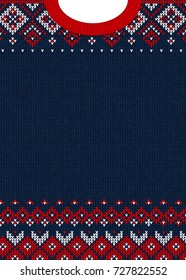 Ugly sweater Merry Christmas and Happy New Year greeting card template. Vector illustration Handmade knitted background pattern with scandinavian ornaments. White, red, blue colors. Flat style