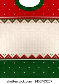 Ugly sweater Merry Christmas party ornament. Vector illustration Handmade knitted background frame border pattern christmas ornamental border, scandinavian style. White, green, red colored knitting