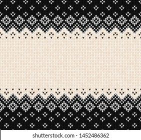 Ugly sweater Merry Christmas party ornament. Vector illustration Handmade seamless knitted background frame border pattern christmas ornamental border, scandinavian style. Black and white colored knit