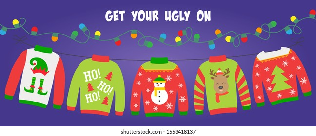 Ugly sweater party banner, background or invitation with hanging lights string and different sweaters. Christmas holiday decoration. Layout template. Get your ugly on text.