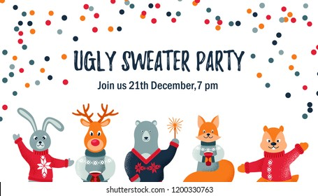 Ugly sweater party design / card / invitation with cute animals. Space for text