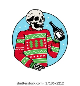 UGLY SWEATER PARTY SKELETON WITH BOTTLE COLOR WHITE BACKGROUND