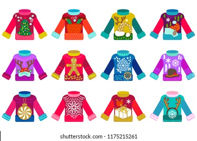 Ugly Sweaters party set. Colorful Christmas jumpers with different festive decorations. Ornaments with Xmas tree, deers, snowflakes, gingerbread and other elements.