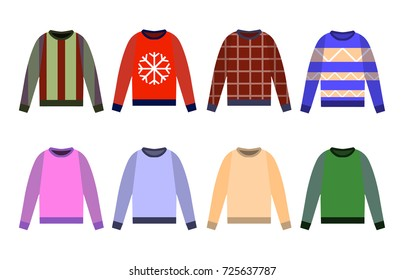 Ugly sweaters set icon, Yellow, red, blue jumper isolated on white background. Flat design Vector Illustration
